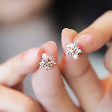Fashionable Inlaid Zircon Copper-plated Earrings Small Cute Snowflake Earrings