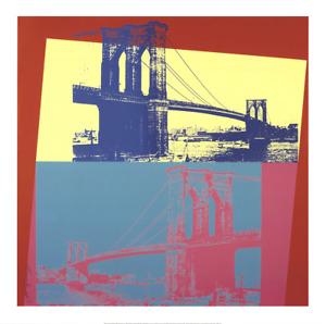 ANDY WARHOL Brooklyn Bridge 36 x 36 Giclee 2014 Pop Art Yellow, Turquoise
