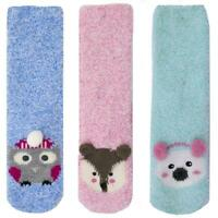 Womens Ladies Undercover Super Soft Fluffy Fleece Grip Slipper Lounge Bed Socks