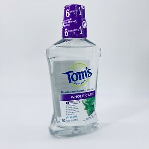 Tom's Of Maine Whole Care Natural Fluoride Mouthwash Fresh Mint 16 oz Exp 11/21