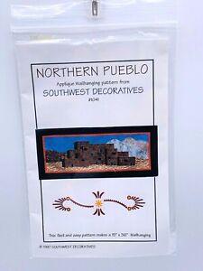 """Southwest Wallhanging Quilt Pattern Northern Pueblo Applique 15"""" x 36"""" 1997"""