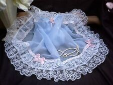 SISSY BLUE SO SHEER NYLON PETTICOAT SLIP PLEATED TIERED LACE HEM PINK SATIN ROSE