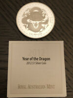 2012 Year of the Dragon 1oz .999 Silver Coin Royal Australia Mint Coin& COA Only
