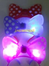 *4 PCS* LIGHT UP MINNIE MICKEY MOUSE BOWS  POLKA DOTS HEADBANDS MULTI COLOR EARS