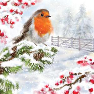 5 x Single Cocktail Napkins/3 ply/25cmDecoupage/Christmas/Robin on Snowy Branch