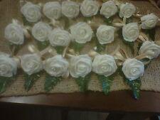 wedding buttonhole  ivory foam rose twine & gold silk ribbon 2 double 14singles.