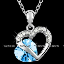 Aquamarine Love Necklace Girlfriend Wife Mum Niece Birthday Gifts For Her J243B