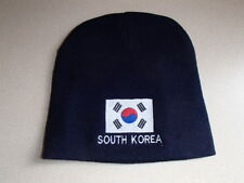 South Korea Flag Knit Beanie Hat Embroidered