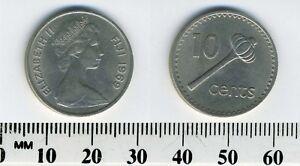 Fiji Islands 1969 - 10 Cents Copper-Nickel Coin - Elizabeth II - Throwing club