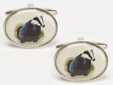 Unique Wishlist Rhodium Plated Badger Image Novelty Oval Cufflinks 901453