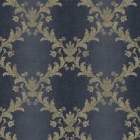 Wallpaper Beige & Tan Acanthus Leaf Trellis on Navy & Gray Ombre Stripe