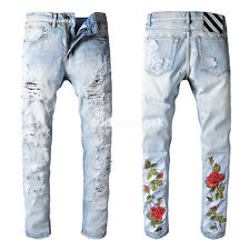 New Men's Italy Moto Pants Flower Embroidery Biker Jeans Blue Slim Trousers O102