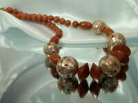 WOW Vintage 70's Mother of Pearl Wooden Beaded Pretty Classic Necklace 504ag0