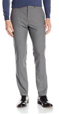 Kenneth Cole Reaction Men's Slim-Fit Medium Gray Windowpane Plaid Dress Pants
