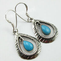 Natural Blue & Green Turquoise Dangle Earrings Solid Sterling Silver New Jewelry