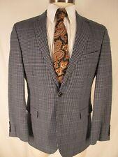 821f93940 Hugo Boss Rhett Mens Blue Plaid 2 Btn Wool Linen Extra Slim Blazer 40S  Current