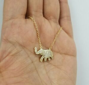 925 Sterling Silver & Gold Plated Cz Elephant Charm Pendant Necklace
