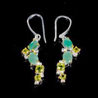 Emerald Earrings Silver 925 Sterling Handmade  /E38000