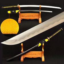 Japanese Samurai Katana Sword Damascus Steel Sharp Blade Real Hamon Rayskin Saya