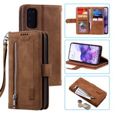 For Samsung Galaxy S20 S10 S9 S8 A51 A71 Leather Zip Wallet Case Card Slot Cover