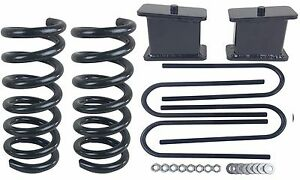 """3/4 Drop Kit 3"""" Front Springs 4"""" Rear Fab Steel Blocks Ubolts For S10 2wd 4 Cyl"""