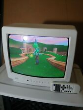 """Cool Vintage White JVC Color TV 13"""" C-13811 w/ Remote Control RETRO CRT"""