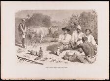 1880 - Gravure Groupe de Vaqueros (Canal du Panama, Darien)