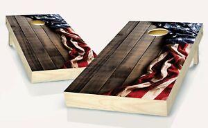 Cornhole American Flag Brown Board Vinyl Wrap Laminated Sticker Set Patriotic