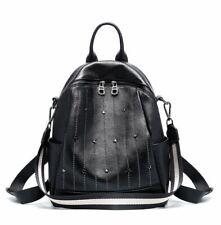 New Women Genuine Cow Leather Backpack Shoulder Bag Handbag Travel Bag Black