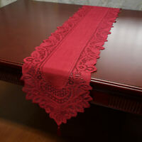 Red Vintage Lace Table Runner Dresser Scarf Hand Crochet Floral Doily 13x70in