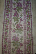 ancien tissu french textile lin imprimé bouquet fleur violet 1900    200x59 cm