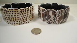 Lee Sands set of 2 Chunky Spotted Conus & Voluta Shell Stretch Bracelets