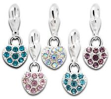 CLEAR RHINESTONES HEART CLIP-ON CHARM- 5  COLOURS - NEW