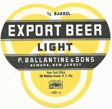 1930's Export Beer Light 1/2 Barrel Label - Newark, NJ - Ballantine