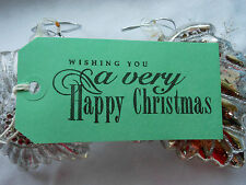 10 GREEN Wishing You A Very Happy Christmas  Christmas Gift Tags Handmade