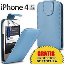CARCASA FUNDA DE PIEL AZUL CELESTE iPHONE 4 4S