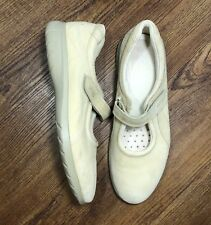 Ecco Women's 41 / 10 Beige Nubuck Leather Mary Jane Oxford Flats Loafers Shoes