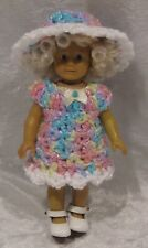 Made to fit  Mini AMERICAN GIRL #10 Crochet Dress & Hat,   Handmade doll clothes
