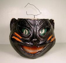 Vintage Antique Halloween Paper Mache Black Cat Jack O Lantern 40s-50s