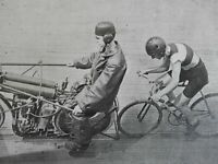 Motorcycling in Football Helmets Protective Gear Bicycle 1903 old print