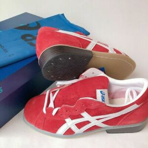 ASICS Weight Lifting Shoes TOW727-2301 Red White Leather US 6-10 Jappan (2E) NEW