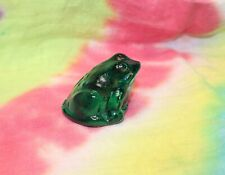 Solid Green Glass Frog Toad Paperweight Figurine