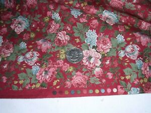 """792J Vintage COTTON QUILT Fabric DARK RED Packed Floral HYDRANGEAS ROSES 2YD14"""""""