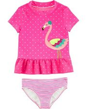 NWT Carter's Size 5T Flamingo Rash Guard Swimsuit Bathing Suit 2 piece