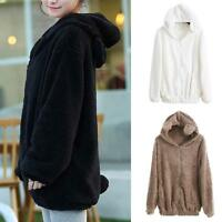Women Hoodies Zipper Winter Loose Fluffy Bear Ear Hooded Jacket Outerwear Coat