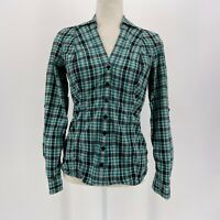 Guess Fitted Green Black & Silver Plaid Button Shirt Women's Size Medium