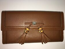 GUCCI Brown Leather Bamboo Tassel Wallet