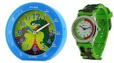 RAVEL KIDS EASY READ DINOSAUR TIME TEACHER ALARM CLOCK +WATCH RC007.06A R1513.59