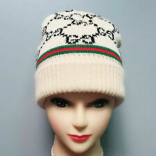100% Authentic Gg wool Knit Cap Hat Cotton/Beige