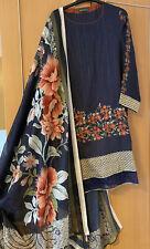 2 Pc Never Blue Warm Kameez Kurta Tunic With Silk Scarf  Dupatta Size M-L